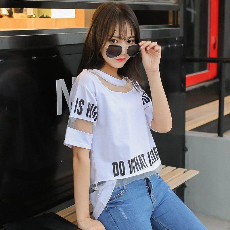761db56e 2019 Plus Size T Shirt Women Summer Tops Half Sleeve Fashion Hollow Out  Letter Printed Long