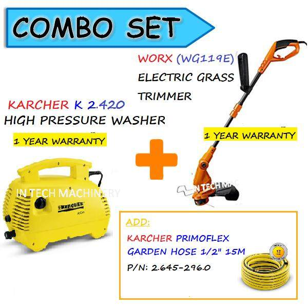 "COMBO SET WORX WG119E ELECTRIC GRASS TRIMMER+KARCHER K2 420 HIGH PRESSURE WASHER+HOSE 1/2"" 15M(26452960"