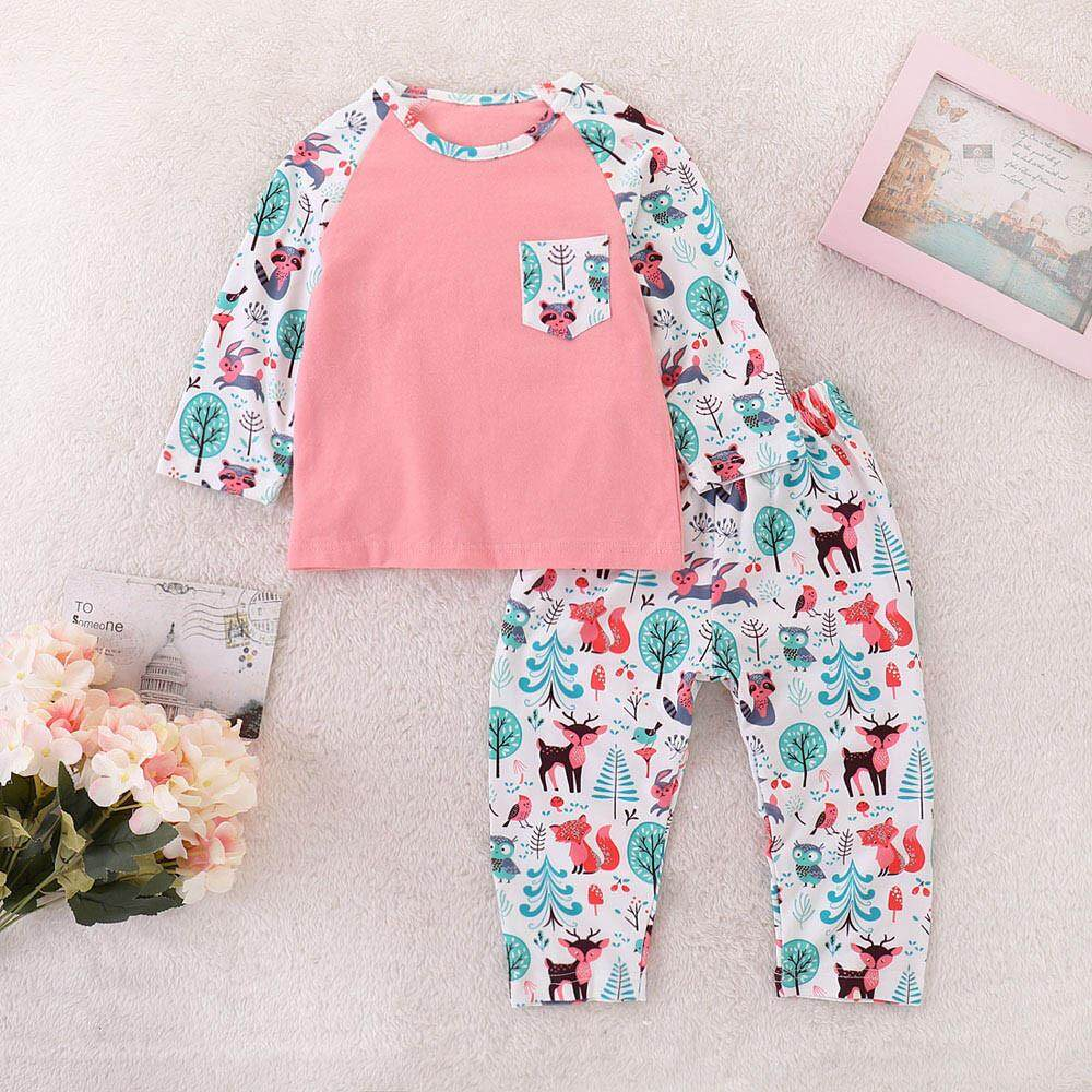 Tideshop Toddler Baby Girls Kids Cartoon Print Tops+pants Outfits Clothes Set By Tideshop.