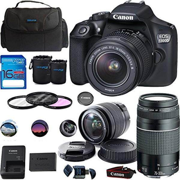 Canon EOS 1300D/Canon EOS Rebel T6 DSLR Camera w/ EF-S 18-55mm f/3 5-5 6 IS  II Lens + Canon EF 75-300mm f/4-5 6 III Lens - Deal-Expo Premium