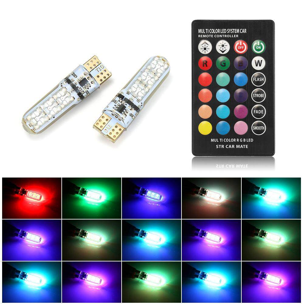 1 Pair T10 W5W LED Car Lights LED Bulbs RGB With Remote Control Strobe Led Lamps