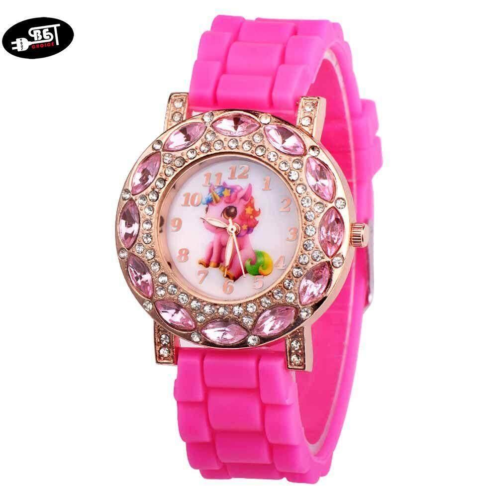 YBC Children Girl Wrist Quartz Watch Round Durable Unicorn Pattern Cute Casual Gift
