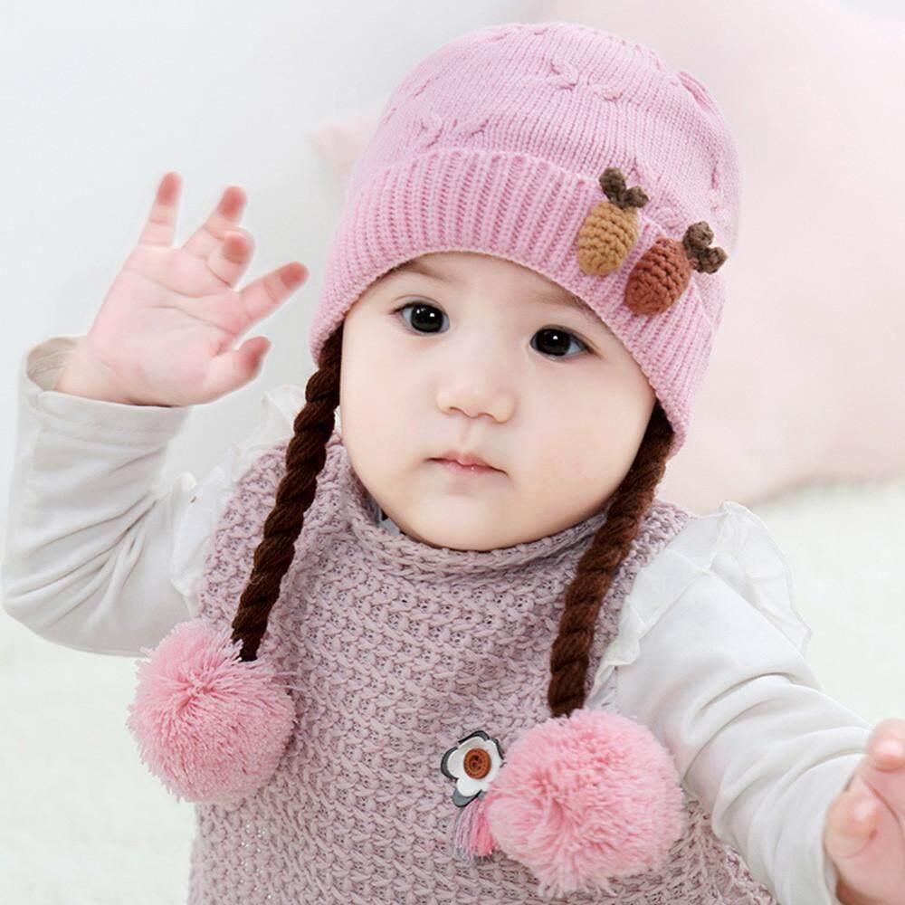 008ec36169c Tideshop Cute Kids Toddler Girls Baby Winter Braid Crochet Knit Hat Beanie  Hairball Cap
