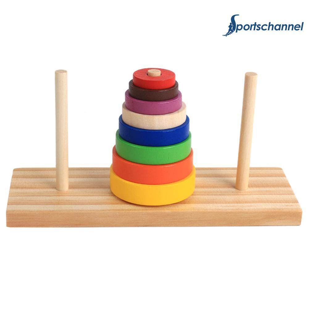 Wooden Puzzle Stacking Tower Of Hanoi Kid Mathematical Educational Toys By Sportschannel.