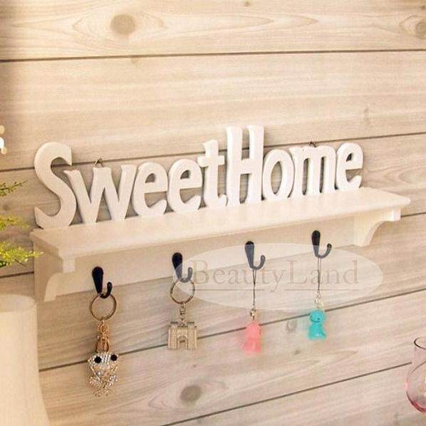 Beautyland Korean Sweet Home Wall Decorative Clothes Hook Rack Mounted Carved Shelves Key Storage Hanging