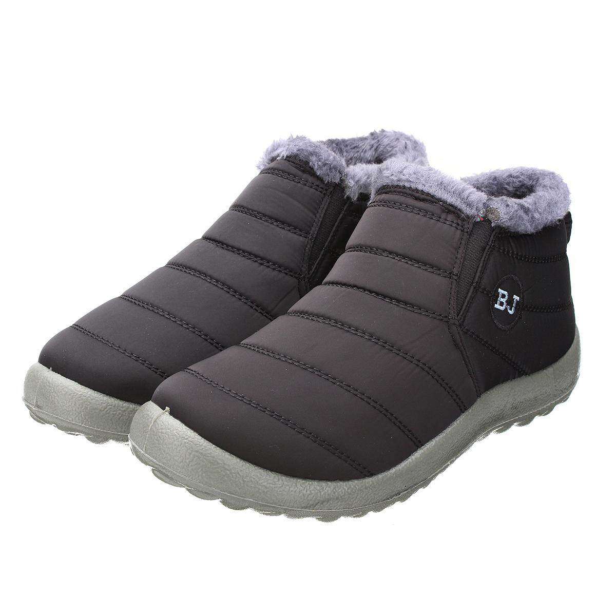 a3ea4641e32 HOT Women s Winter Warm Fabric Fur-lined Slip On Ankle Snow Boots Sneakers  Shoes black