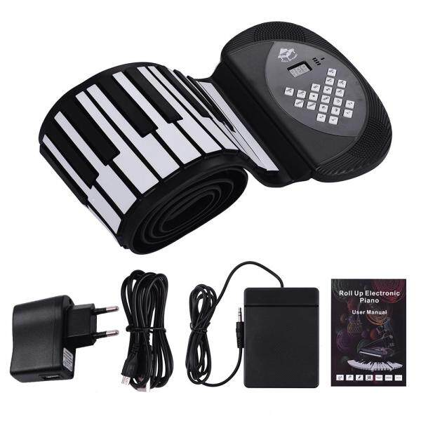 88 Keys MIDI Roll Up Piano Electronic Silicon Keyboard with Stereo Speaker Support BT Connection Record Sustain functions EU PLUG black clolor Malaysia