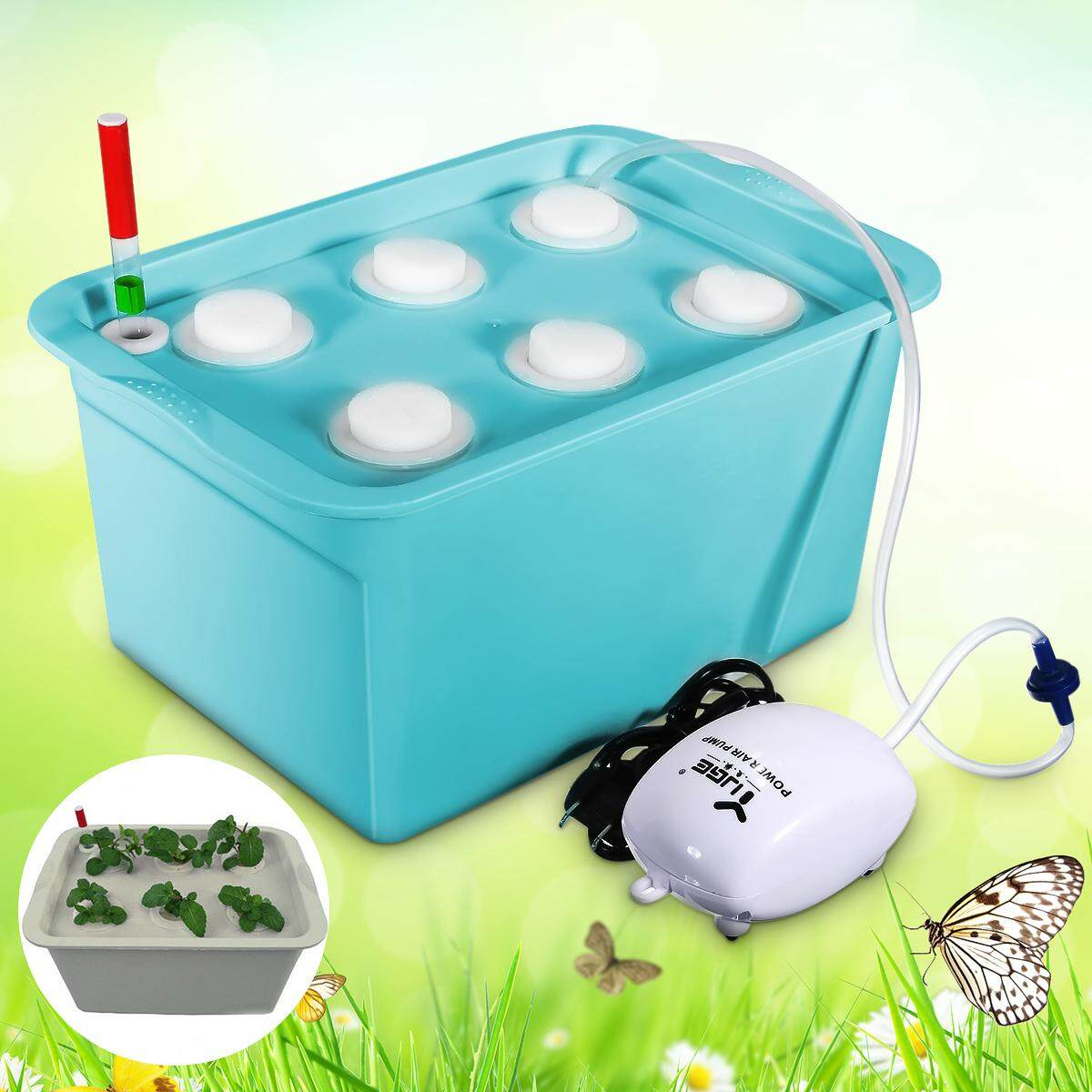 6 Plant Site Deep Water Culture Hydroponic System Bubble Tub Air Pump Grow Kit Blue