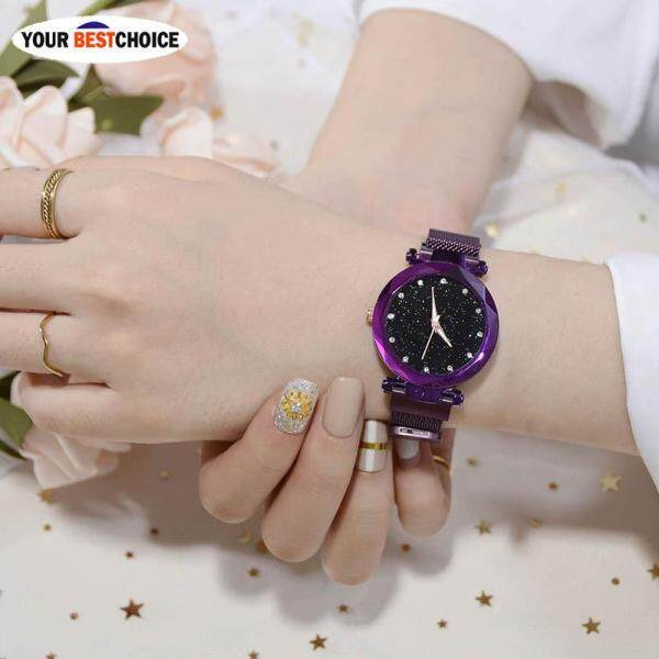 YBC Women Stylish Quartz Wrist Watch Mesh Alloy Magnet Strap Starry Sky Dial Casual Watches Malaysia