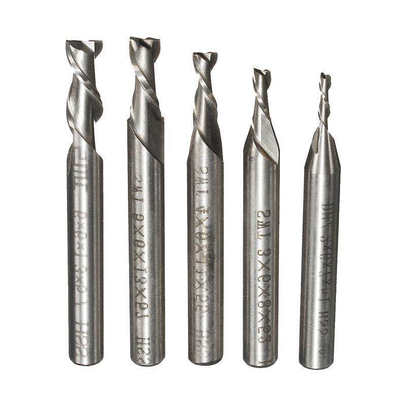SWT 5Pcs 2 Flute 2/3/4/5/6mm HSS End Mill Milling Cutter CNC Engraving Bit Extended