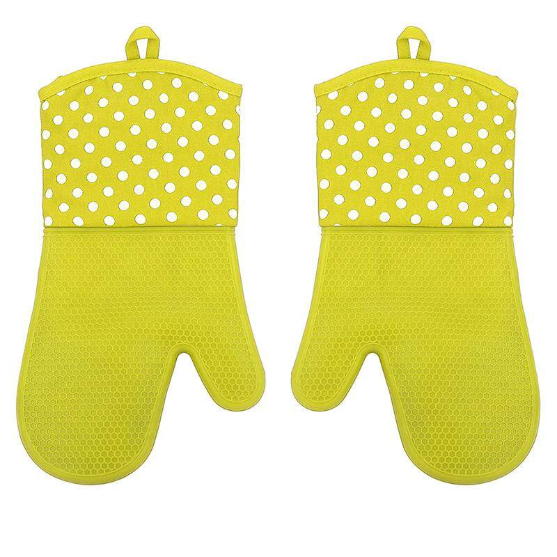 1 Pair Mitts Gloves Kitchen Tools Baking miniwave Oven Cooking Heat Resistant Silicone, Green