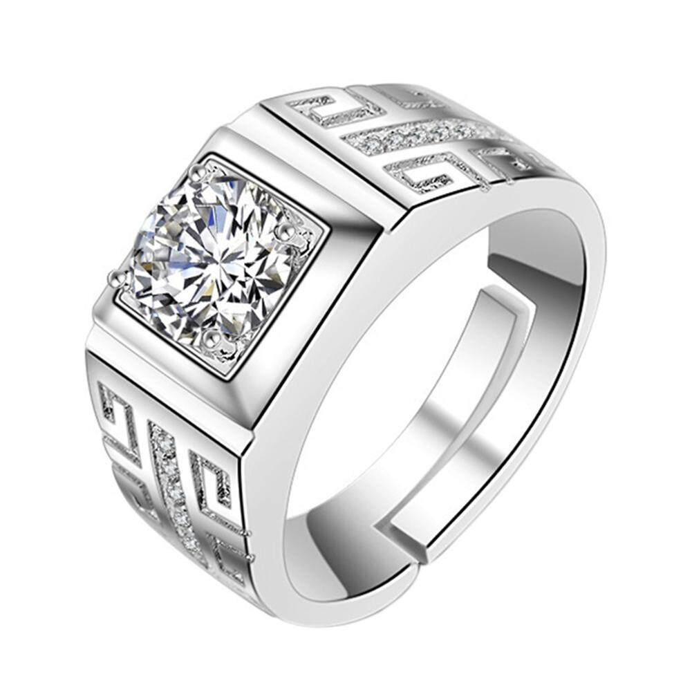 869c181e2639f6 Crystal Ring for Men Engagement Rings Zirconia Wedding Open Rings Jewelry