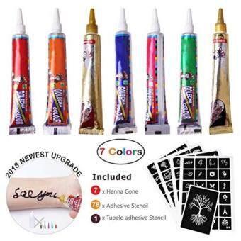 Jualan Henna Paste Cone 7 Color Temporary Henna Tattoo Kits With