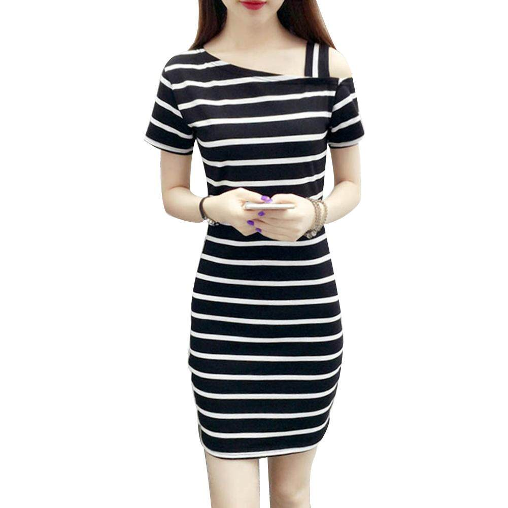 China. Summer Women One Off Shoulder Short Sleeve Stripe Print Mini Bodycon  Dress 5cd184ceae46