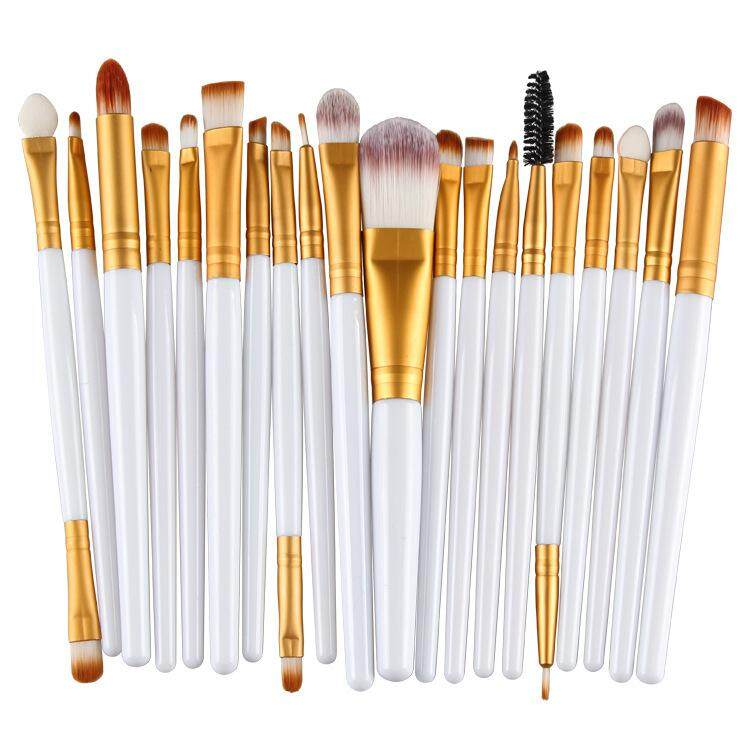 20 Pcs Make Up Brush Set White Gold By Glamhouse.