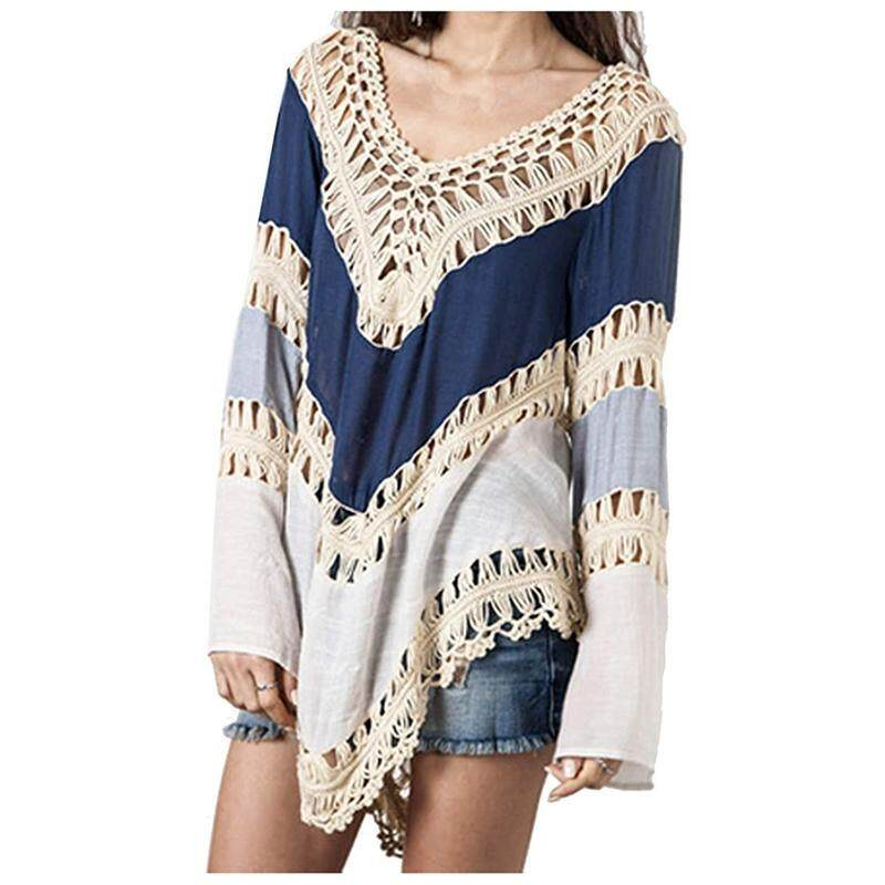 Womens Fashion Swimwear Crochet Tunic Cover Up / Beach Dress Blue One Size By Greatbuy666.