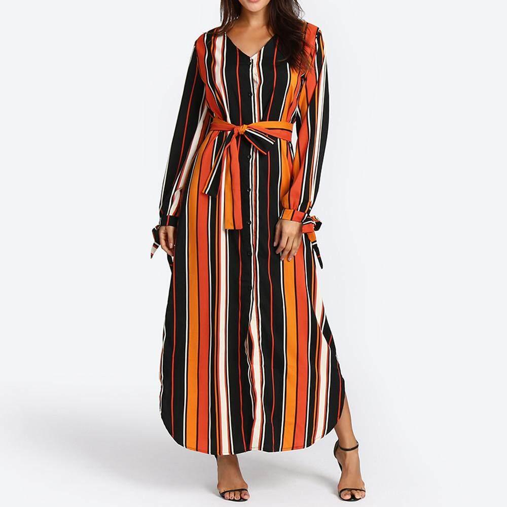 87cc18c3b06 Aiipstore Women s Fashion Long Sleeve Casual Striped Ruffle Autumn Dress