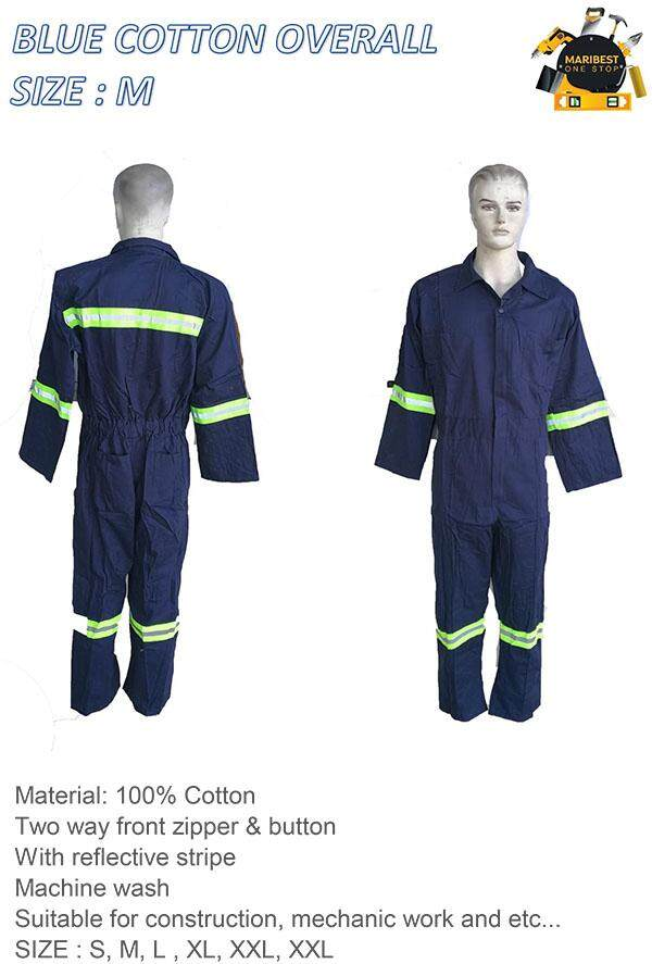 100% Blue Cotton Overall Work Jacket Size M By Maribest Onestop.