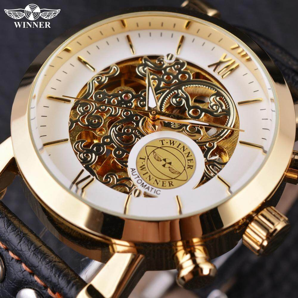 Mens fashion casual leather strap automatic mechanical watch Malaysia