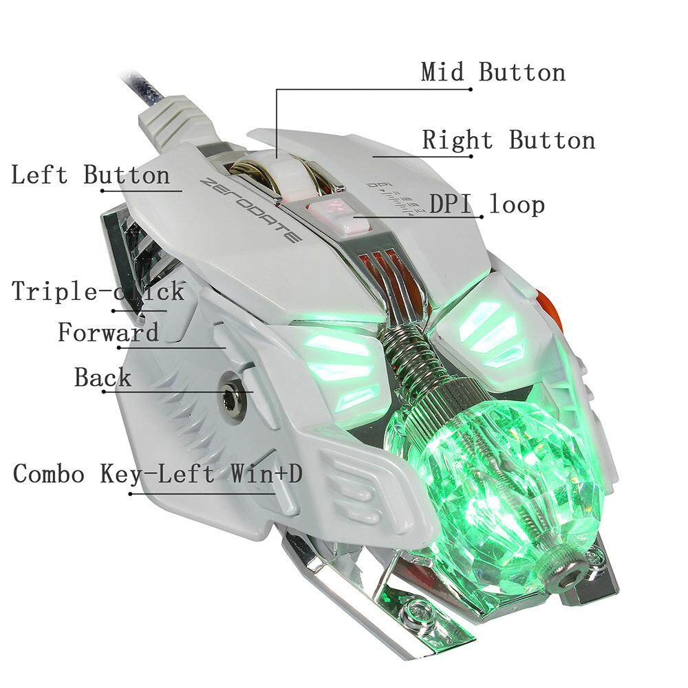 ZERODATE X600 2500DPI Optical Wired Gaming Mechanical Mouse For Tablet Laptop PC Malaysia