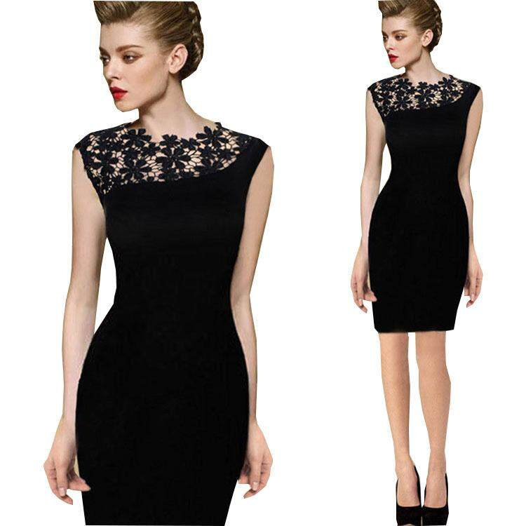 Yta 2018 European And American New Lace Sching Slim Sleeveless Pencil Dress Black For Women