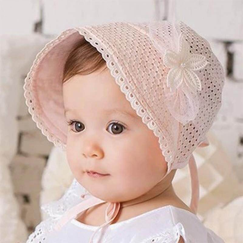 c8dba47c820 Spring Cap Summer Sweet Princess Hollow Baby Girls Hat Lace-up Beanie Cotton  Bonnet Child
