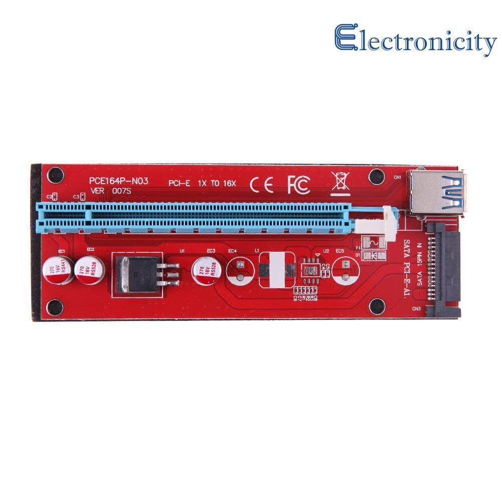 Usb 3.0 Pci-E Express 1x To16x Extender Riser Card Adapter Sata 15pin Power 60cm By Electronicity.