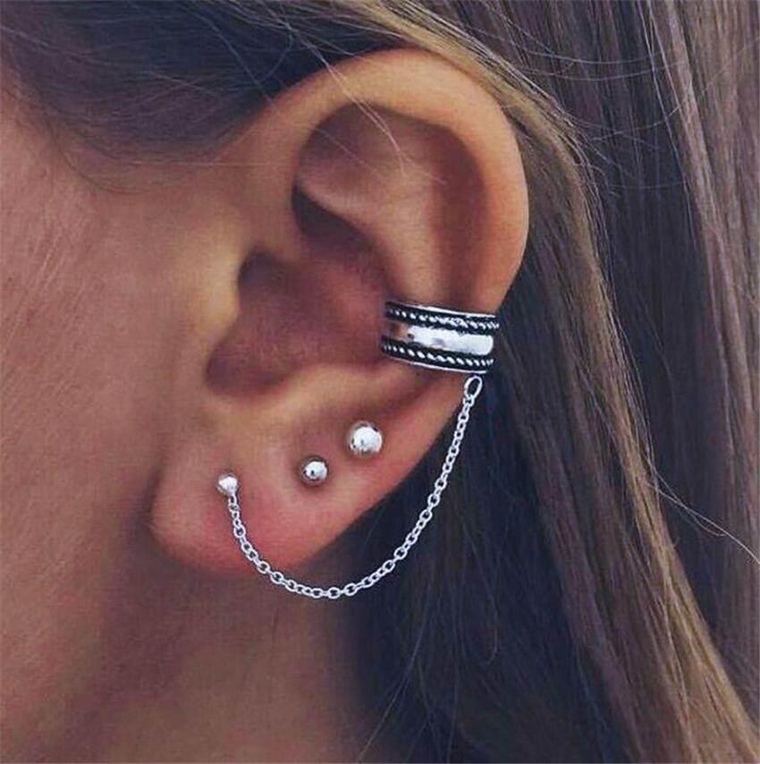c3dfbfae99d6b Bohemian Earrings Women Ethnic Jewelry Bead Earrings Set Ear Clip Stud  Earrings Brincos Women Boho Punk Style Ear Charm Brincos