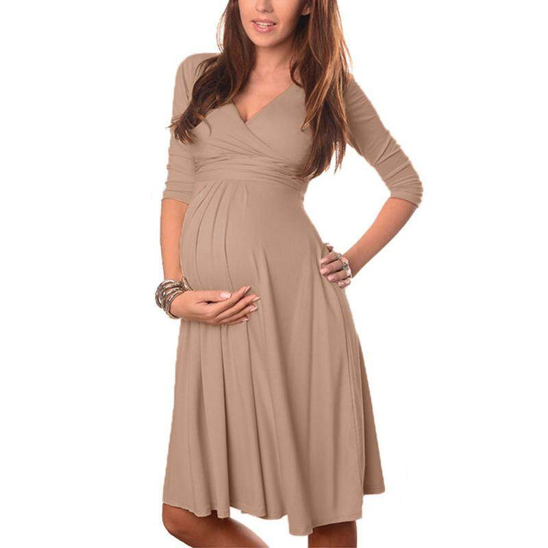 VONDA Maternity Clothes 2018 Spring Summer Pregnant Women Dress Casual V  Neck 3 4 Sleeve cafd8a035d95