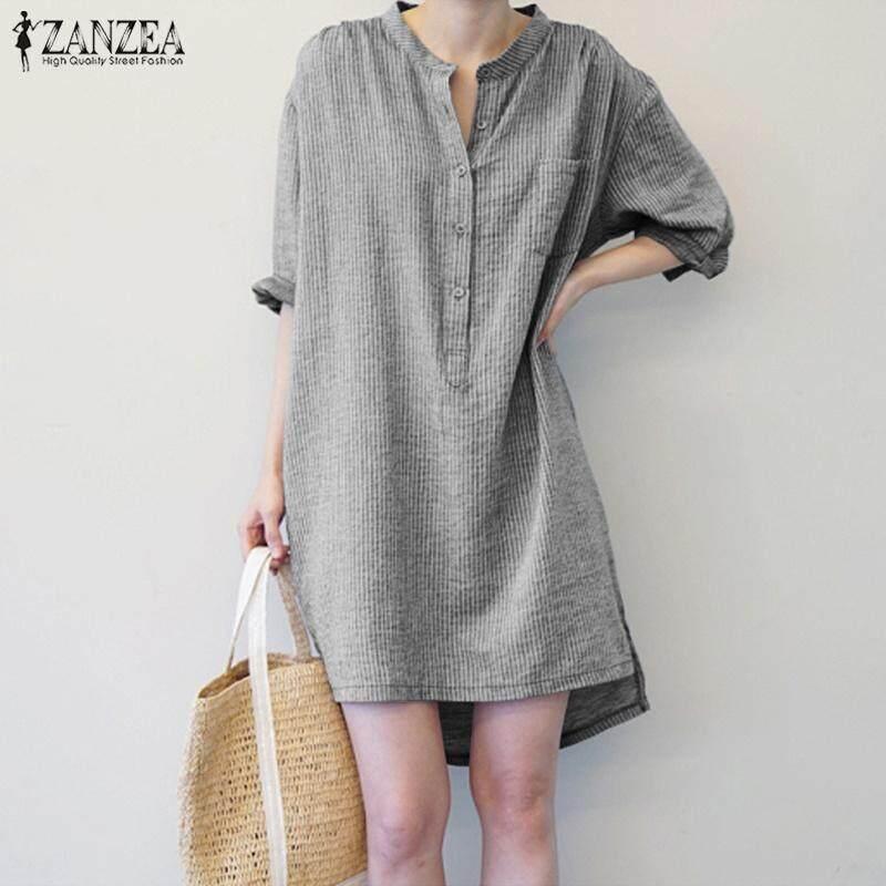 01128e0348a971 ZANZEA Women Plus Size Long Sleeve Tunic Top Blouse Shirt Office OL Work  Striped Dress