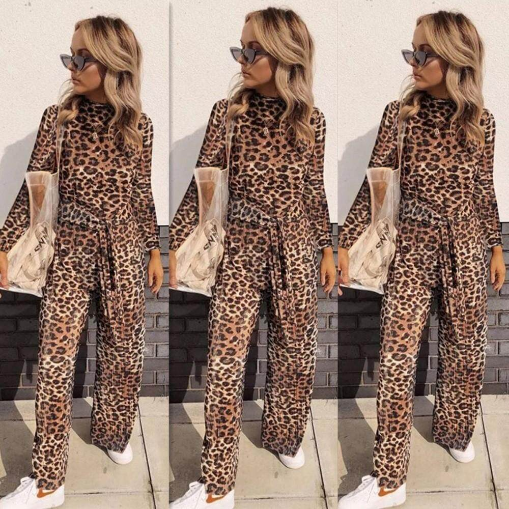 853abd763ef4 Yhystore Women Long Sleeve Leopard Jumpsuits Lady Loose Playsuit Long Wide leg  Trousers