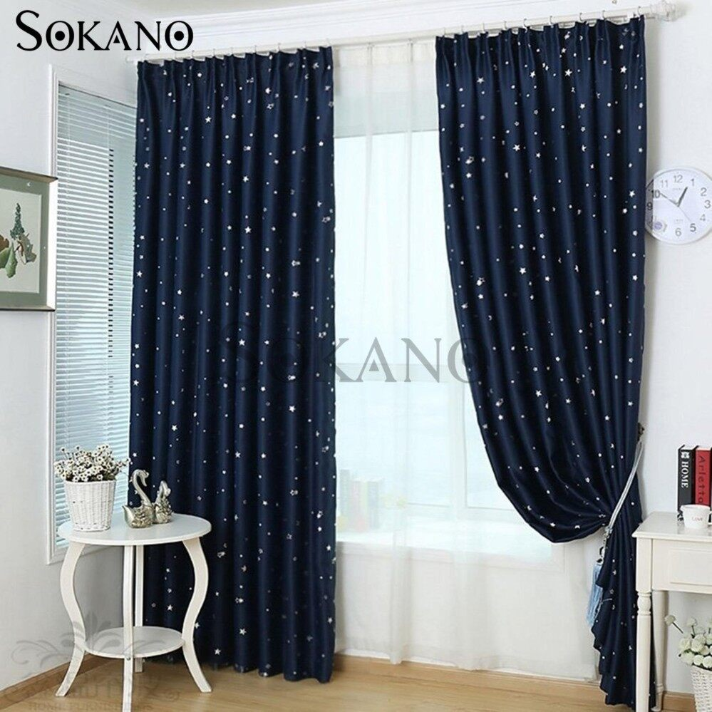 SOKANO CT020 Premium Blackout Curtain 1 Panel 200cm X 270cm Dark Blue Star