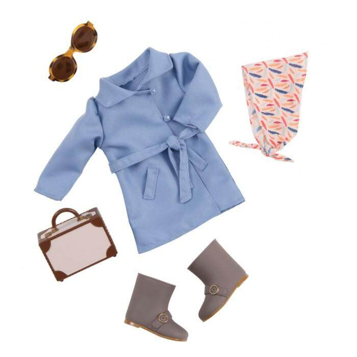(bd60033z) Our Generation, Trench Coat Outfit & Suitcase By Kidzstore.