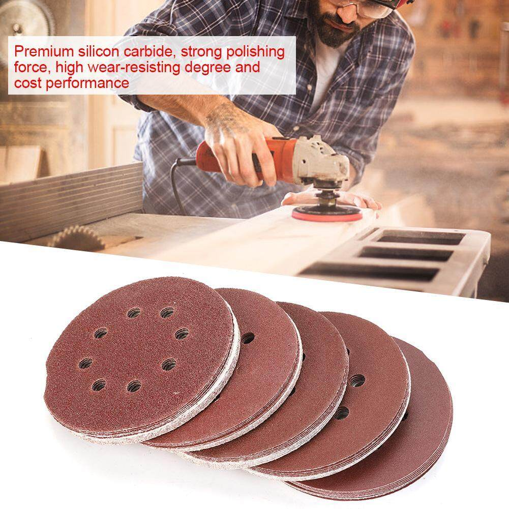 【imported】50pcs 125mm Round Shape Sanding Discs 40 60 80 120 240 Grit Sand Papers With 8 Holes By Lfinger