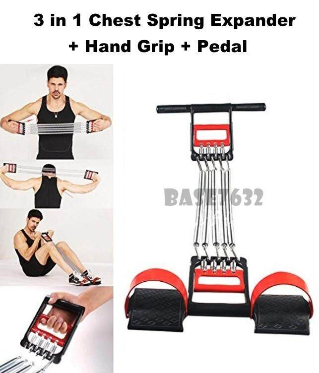 Multifunction 3 In 1 Chest Spring Pull Expander Hand Drip Pedal Muscle Exercise Gym Tool W/ Feet Function 2345.1 By Gadgets Distribution.