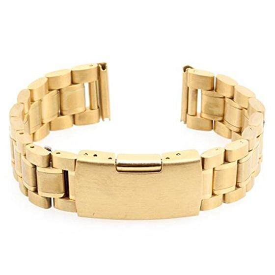 Men Women 18mm Golden Steel Watch Band Strap Bracelet Curved End High Quality Malaysia