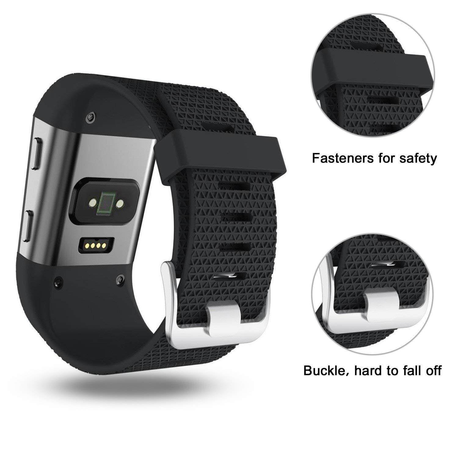 Fitbit Surge Straps, Silicone Accessory Replacement Band for Fitbit Surge,  with Metal Buckle Fitness Wristband Strap WatchBand Women Men Large Small