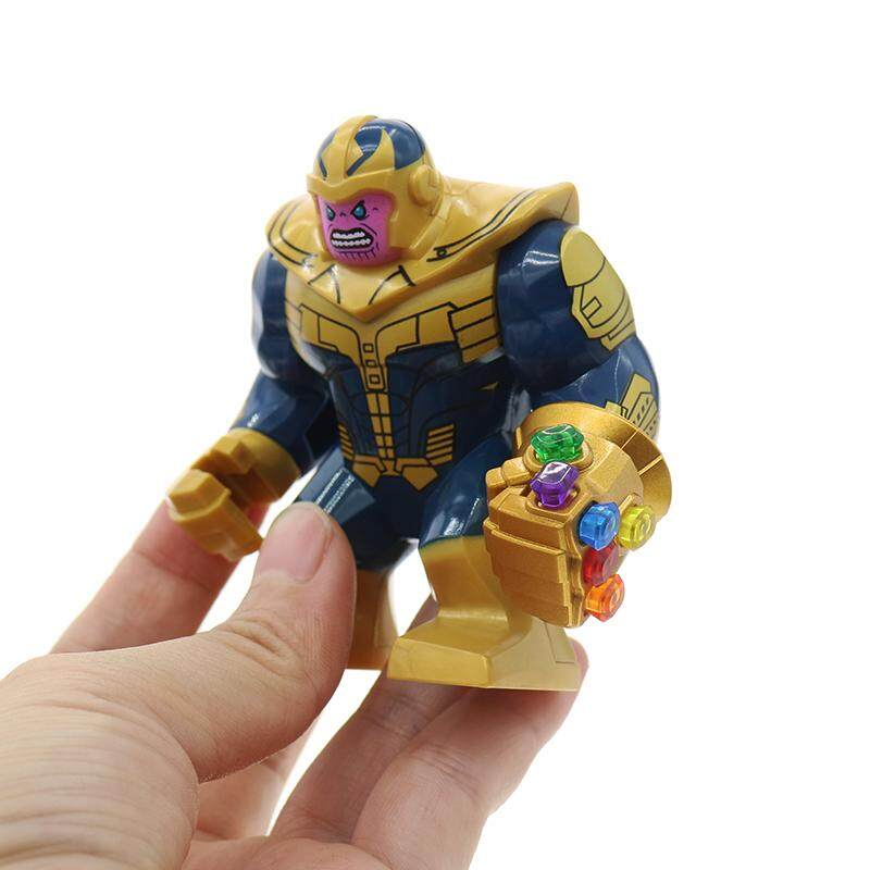 Super Heroes Avengers Infinity War Thanos With Gold-Plated Infinity Gauntlet Hulk Building Blocks Toy By Marget.