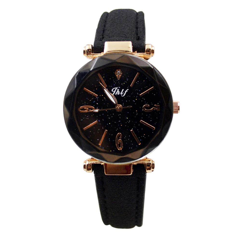 BPFAIR  Fashion Women Leather Casual Watch Luxury Analog Quartz Starry Sky Wristwatch Free shipping Malaysia