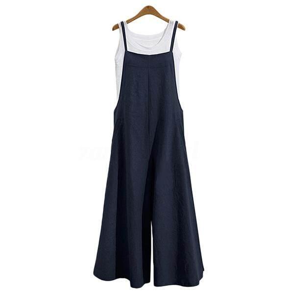 b3397f1c041fe Women Casual Solid Spaghetti Straps Wide Leg Pants Pockets Loose Bib Cotton  Linen Jumpsuits