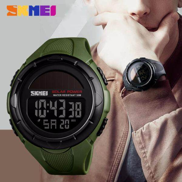 SKMEI New Solar Power Men Sports Watches LED Digital Watch Luxury Brand Electronic Sport Waterproof Wristwatches 1405 Malaysia