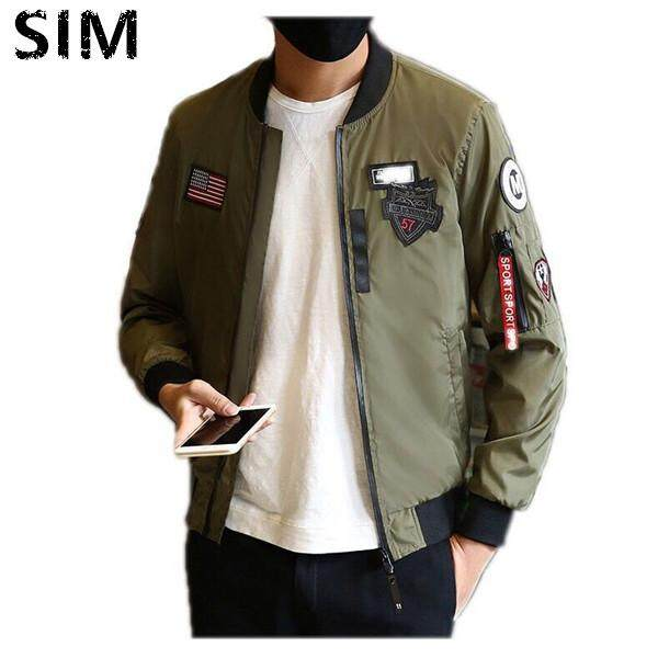 3695a7ab893 SIM Men American flag Patches Jackets Bomber Jackets Casual Coat M-4XL