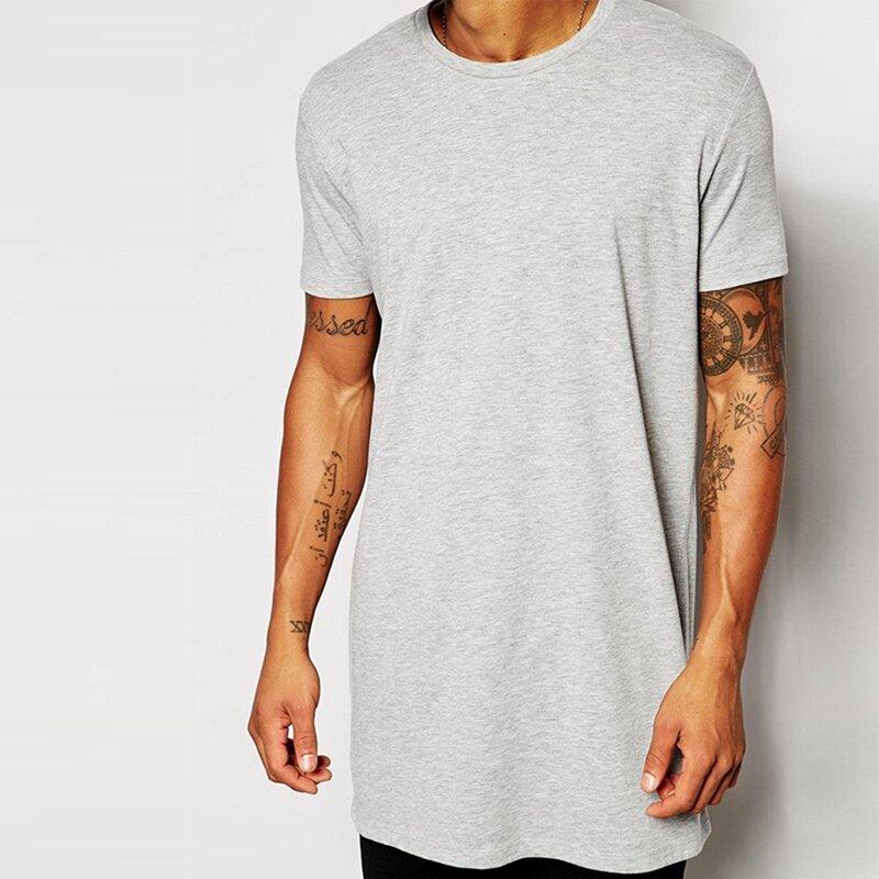 a9175074 Mens Long T Shirt Men Tops Hip Hop Tee T-Shirt Men Short Sleeve Longline  Casual Tee Shirts Grey