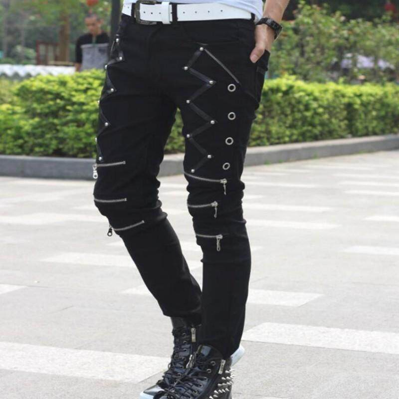 2018 New Arrival Spring Fashion Mens Punk Skinny Pants For Man Cool Cotton Casual Pants Zipper