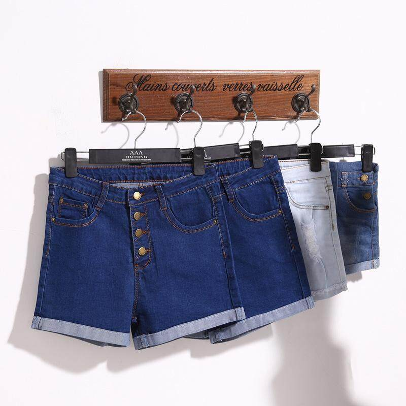 Ailin Womens Button - Up Denim Shorts High-Waist Stretch By Ailin Commercial Company.