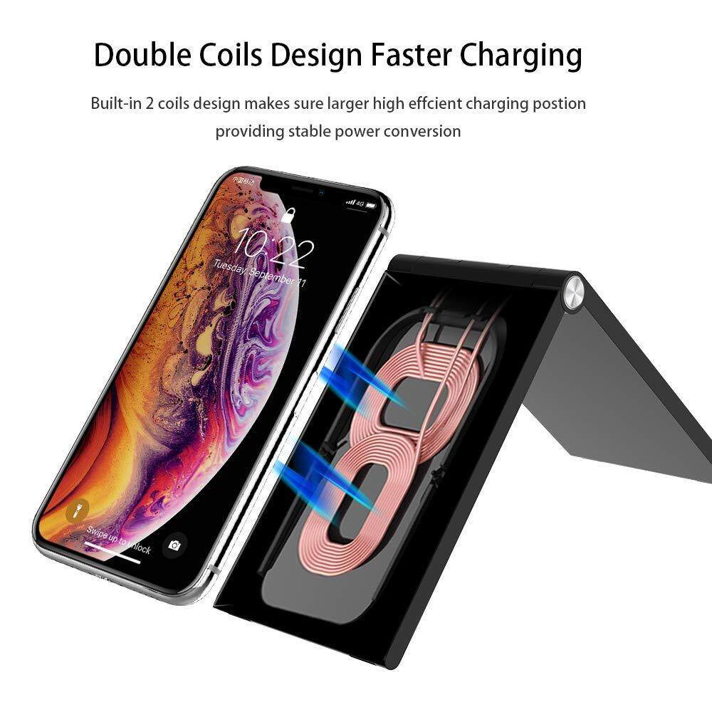Wireless Charger, Qi Fast Wireless Charging Foldable Stand,Compatible with  iPhone Xs Max/XS/XR/X, LG G7 ThinQ / V40 ThinQ, Samsung Galaxy Note 9/S9/S9