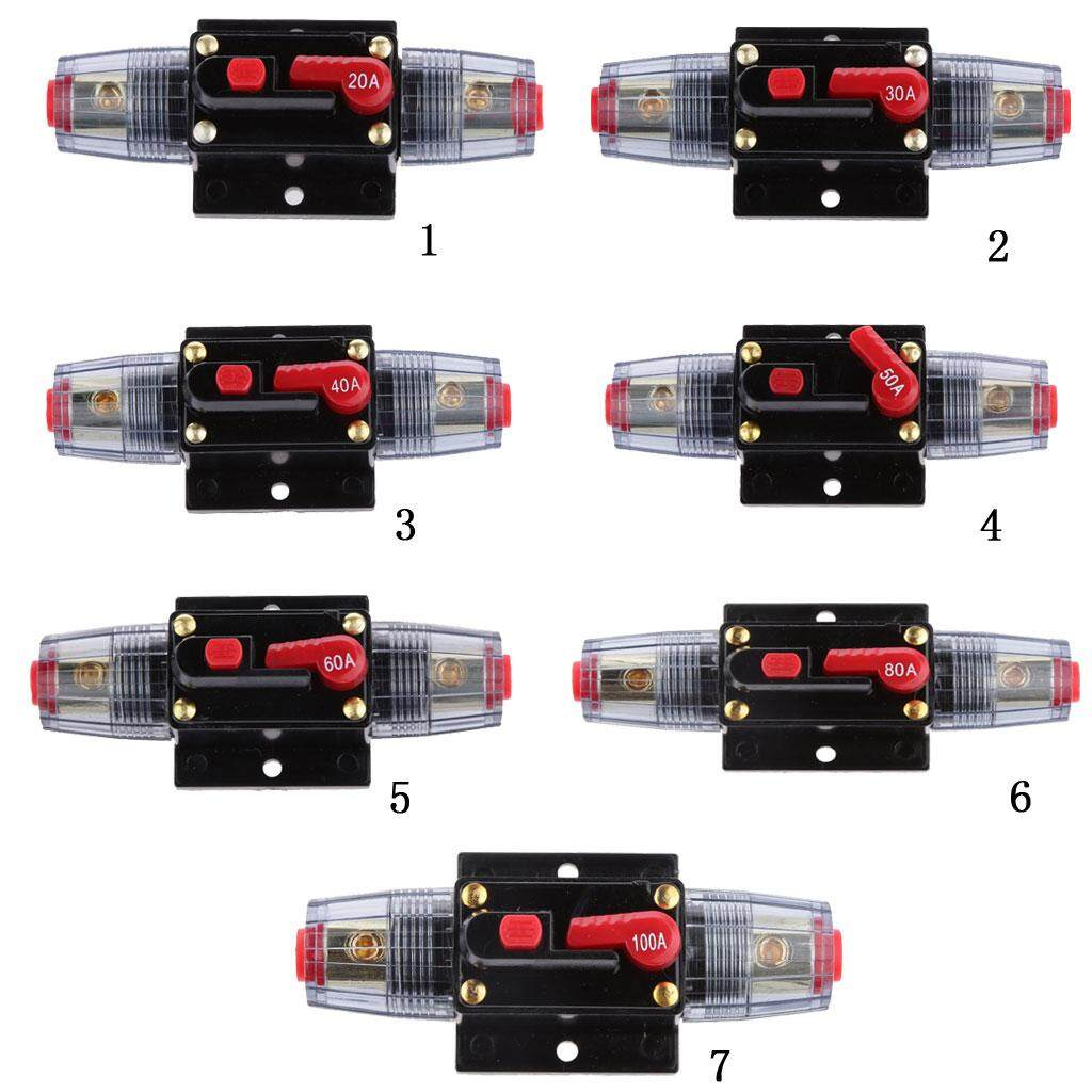 Miracle Shining 12V-24V Inline Auto Circuit Breaker 100A Manual Reset Switch Car Audio Fuse