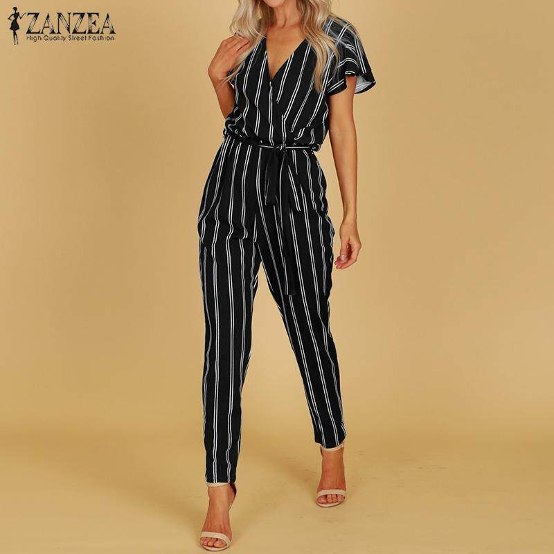 2018 New Fashion Print Long Sleeve Plus Size Women Floral Holiday Long Trouser Jumpsuit Women's Clothing