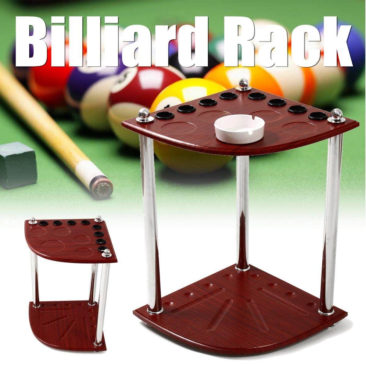 Wooden Corner Cue Rack Pool Snooker Table Balls Drink Rest Stick Holder By Qiaosha.