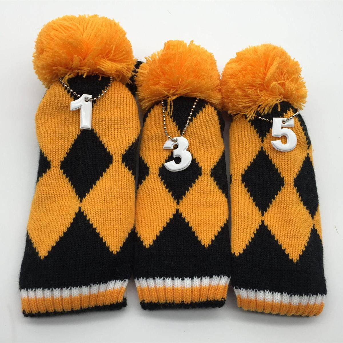Knitted Golf Headcover Pom Pom Woods Headcover Set Fit Taylormade Callaway Ping By Freebang.